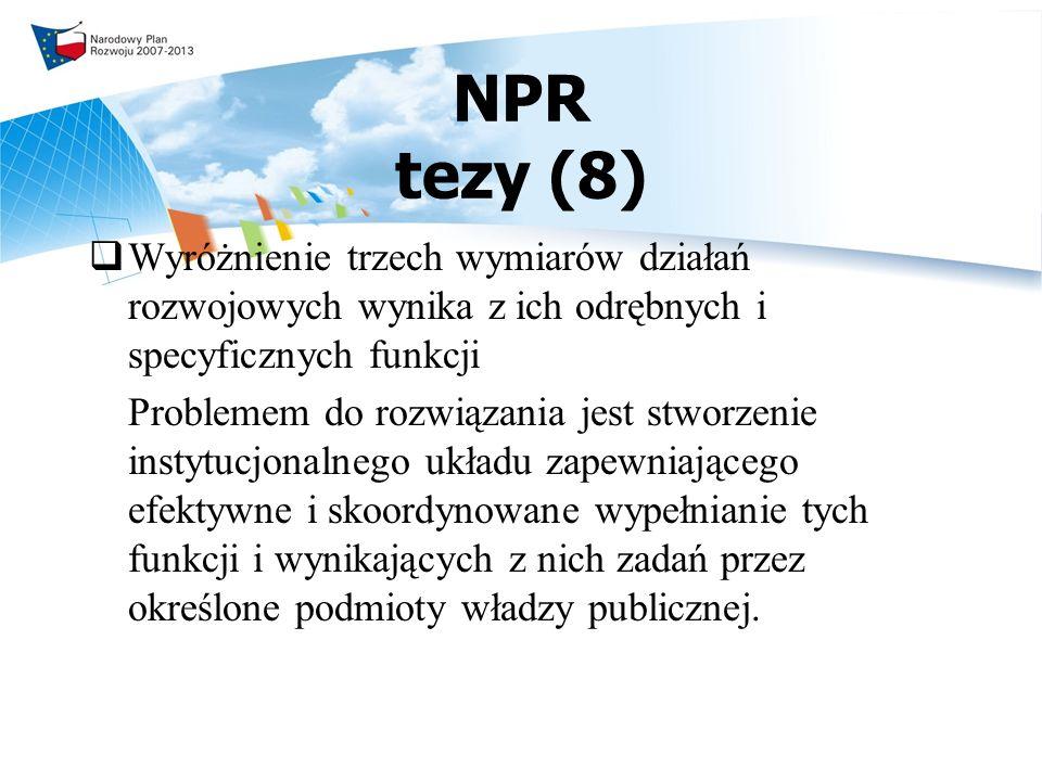 NPR tezy (8) Wyróżnienie trzech wymiarów działań rozwojowych wynika z ich odrębnych i specyficznych funkcji.