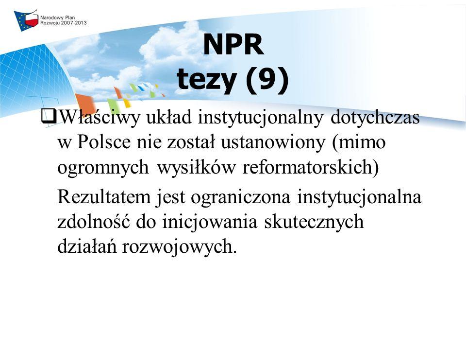 NPR tezy (9) Właściwy układ instytucjonalny dotychczas w Polsce nie został ustanowiony (mimo ogromnych wysiłków reformatorskich)