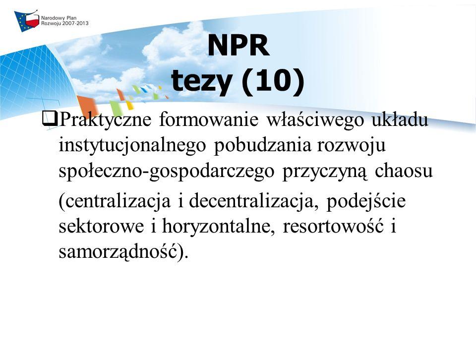 NPR tezy (10) Praktyczne formowanie właściwego układu instytucjonalnego pobudzania rozwoju społeczno-gospodarczego przyczyną chaosu.