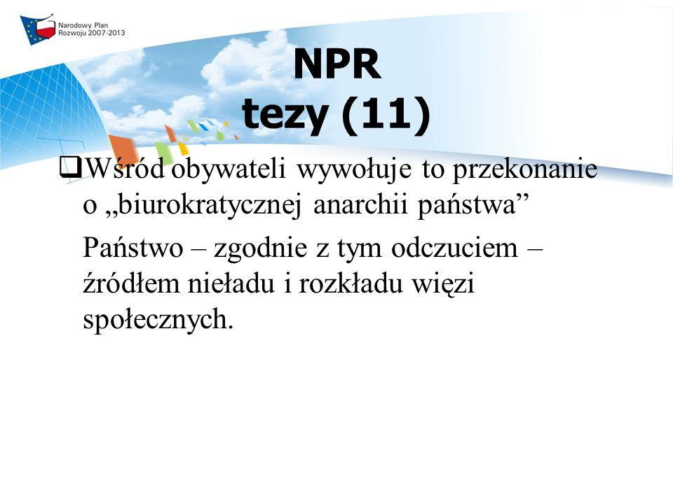 """NPR tezy (11) Wśród obywateli wywołuje to przekonanie o """"biurokratycznej anarchii państwa"""
