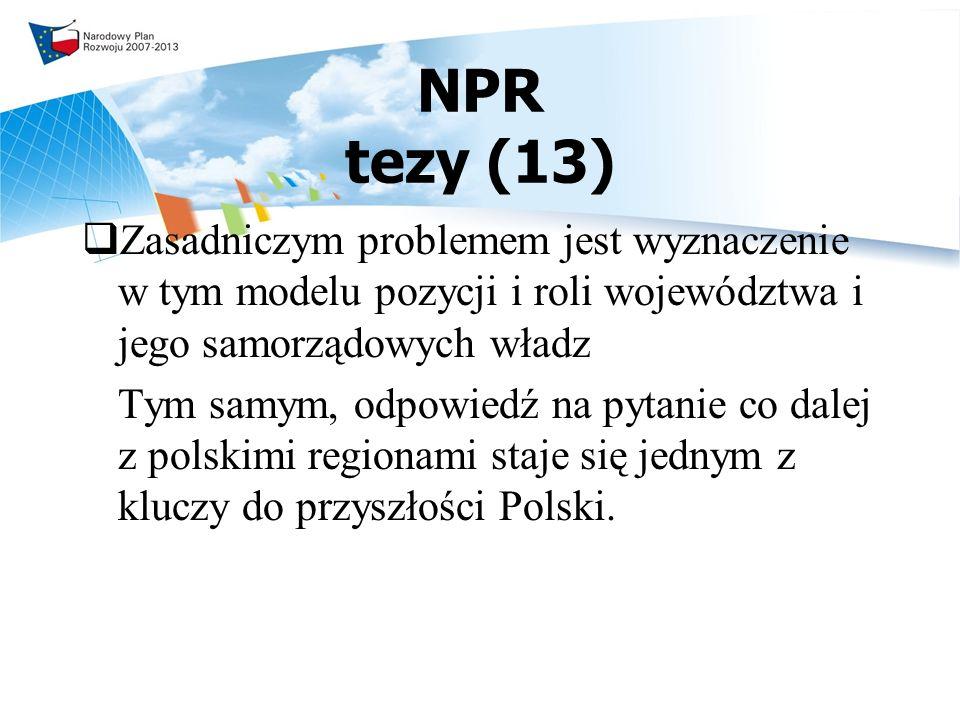 NPR tezy (13) Zasadniczym problemem jest wyznaczenie w tym modelu pozycji i roli województwa i jego samorządowych władz.