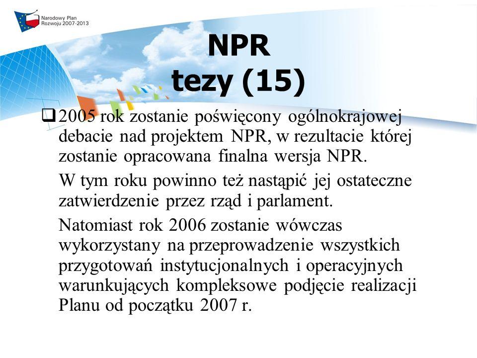 NPR tezy (15) 2005 rok zostanie poświęcony ogólnokrajowej debacie nad projektem NPR, w rezultacie której zostanie opracowana finalna wersja NPR.