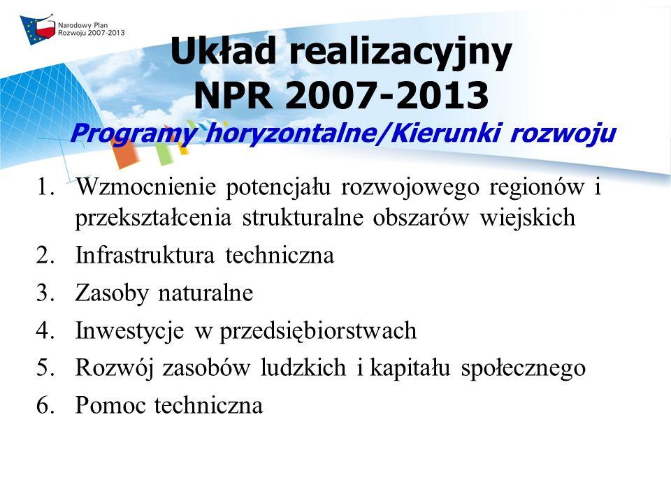 Układ realizacyjny NPR 2007-2013 Programy horyzontalne/Kierunki rozwoju