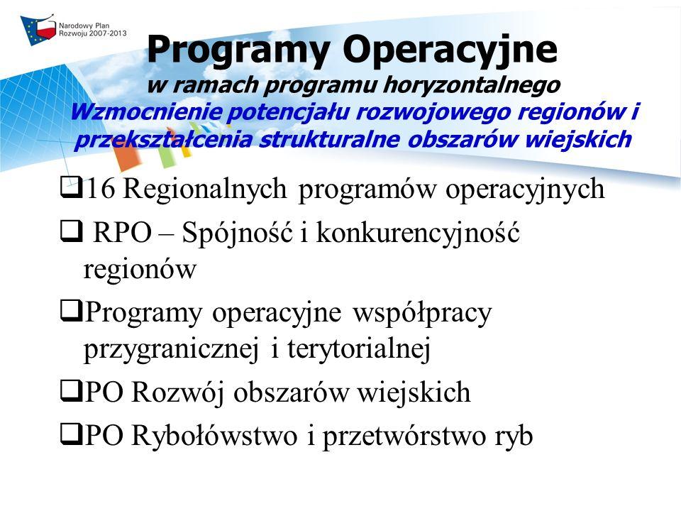 Programy Operacyjne w ramach programu horyzontalnego Wzmocnienie potencjału rozwojowego regionów i przekształcenia strukturalne obszarów wiejskich