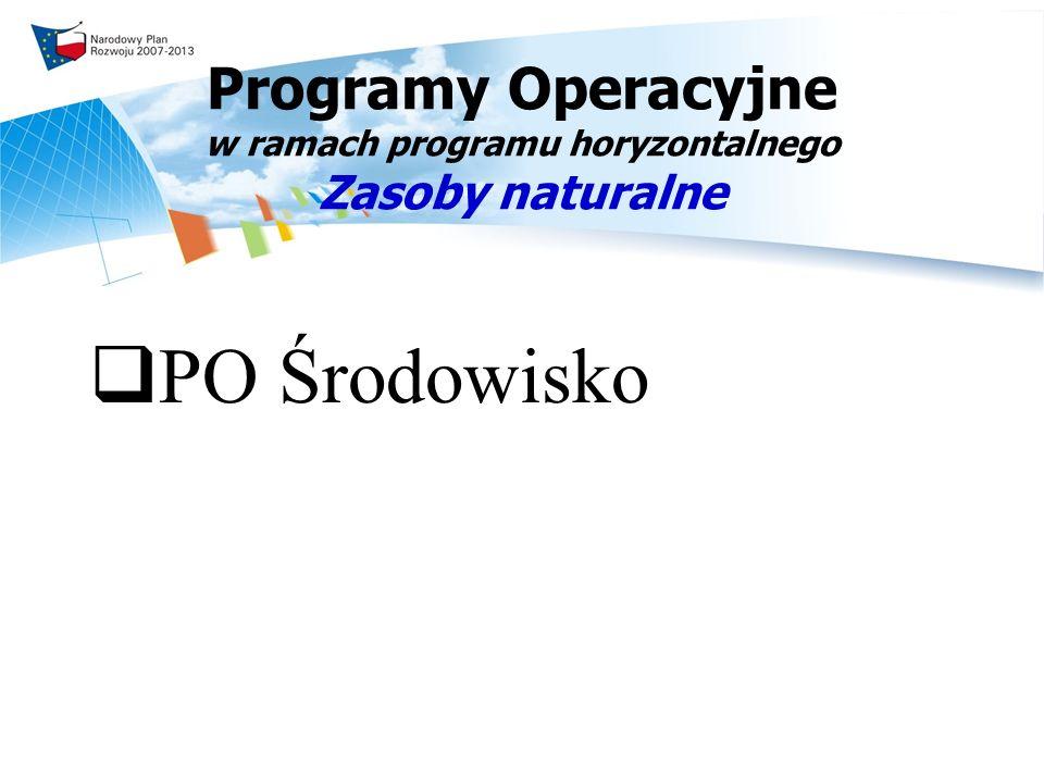 Programy Operacyjne w ramach programu horyzontalnego Zasoby naturalne