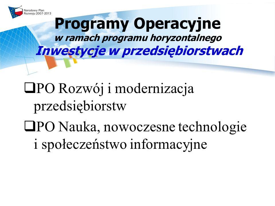 Programy Operacyjne w ramach programu horyzontalnego Inwestycje w przedsiębiorstwach