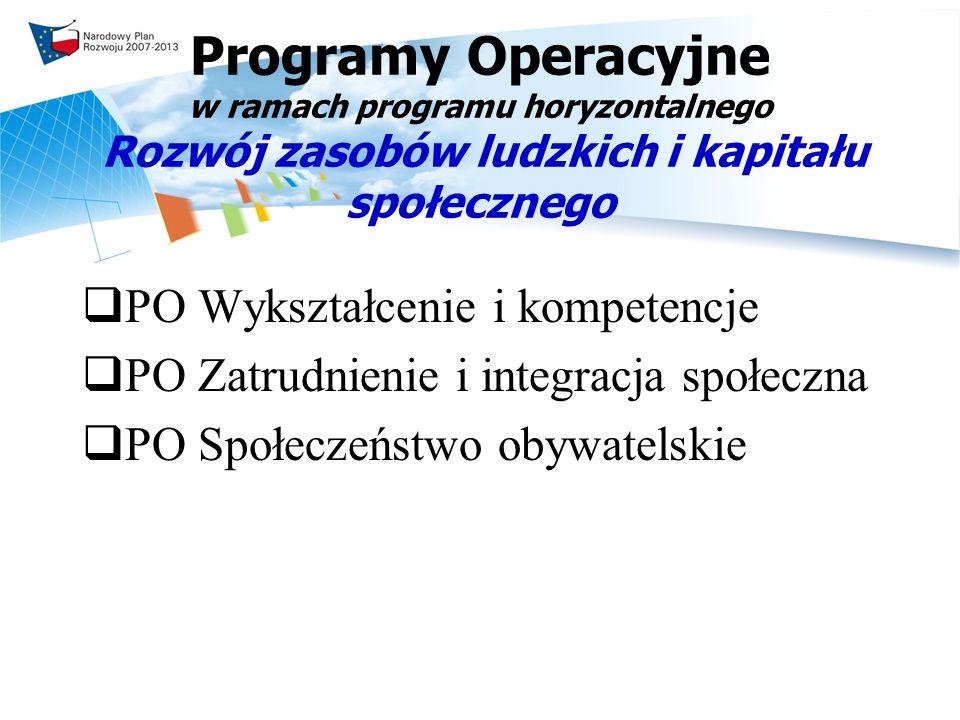 Programy Operacyjne w ramach programu horyzontalnego Rozwój zasobów ludzkich i kapitału społecznego