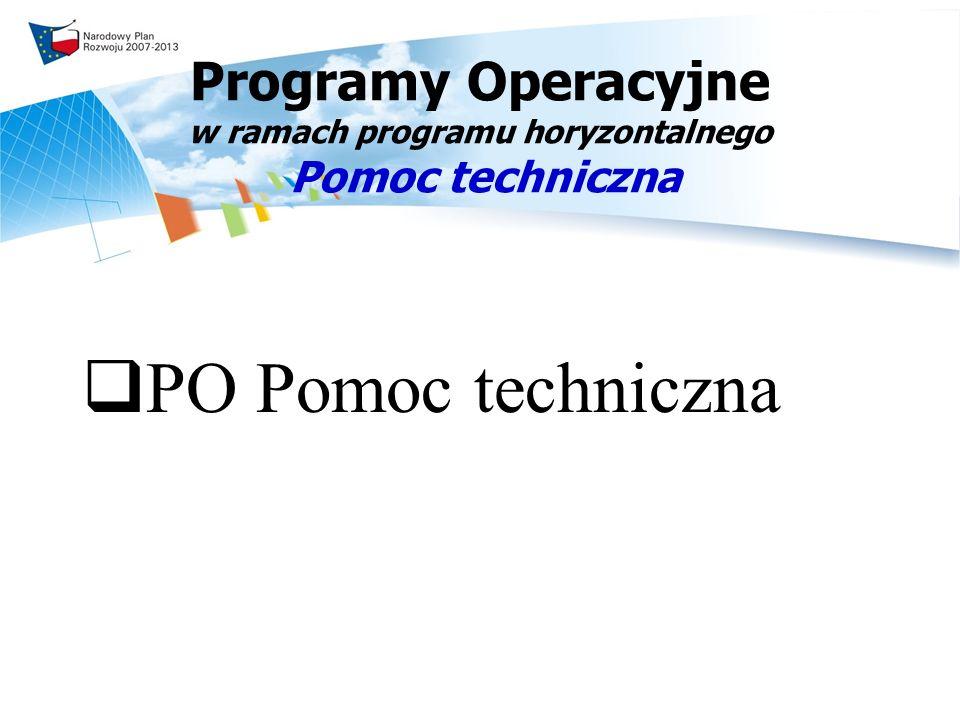 Programy Operacyjne w ramach programu horyzontalnego Pomoc techniczna