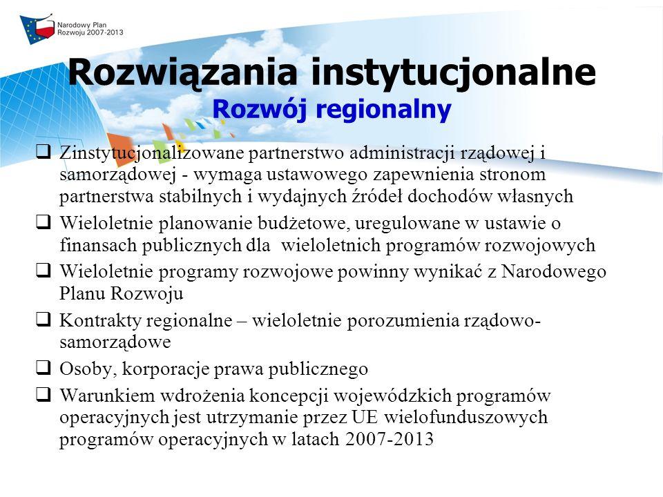 Rozwiązania instytucjonalne Rozwój regionalny