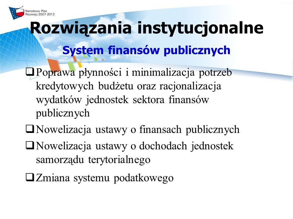 Rozwiązania instytucjonalne System finansów publicznych