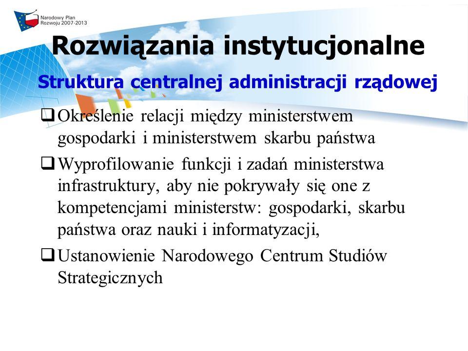 Rozwiązania instytucjonalne Struktura centralnej administracji rządowej