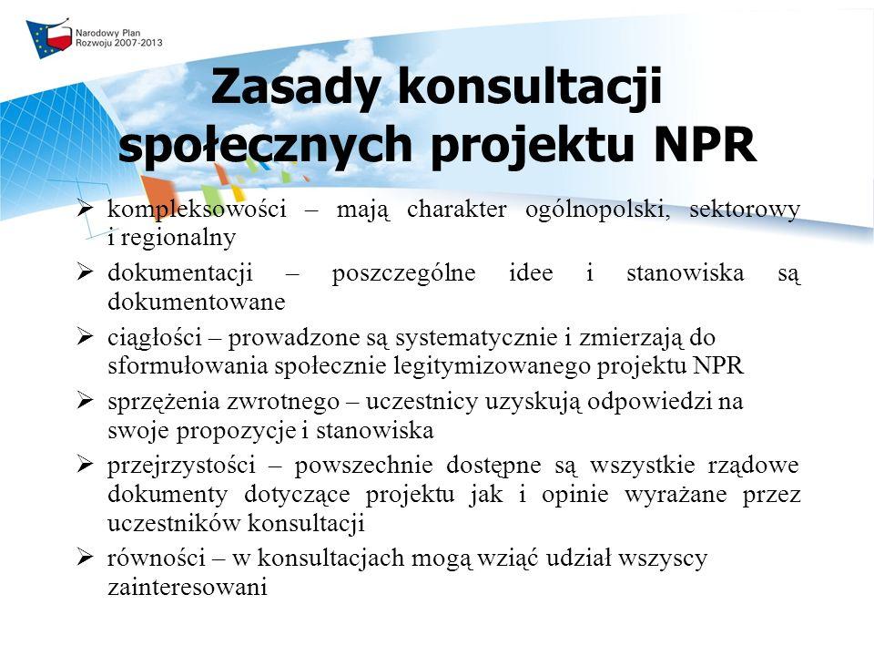 Zasady konsultacji społecznych projektu NPR