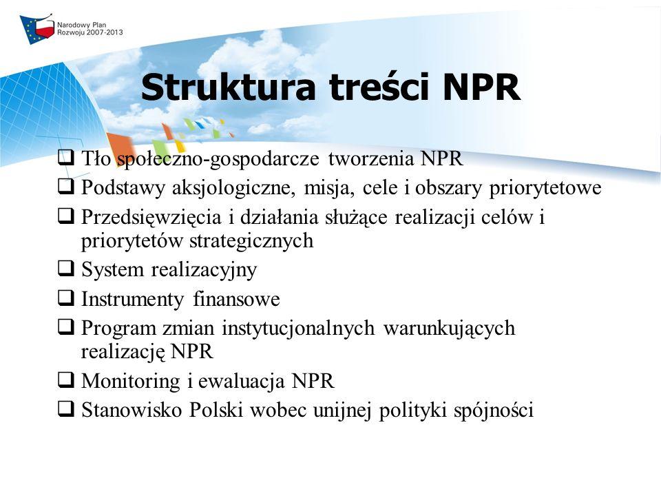 Struktura treści NPR Tło społeczno-gospodarcze tworzenia NPR