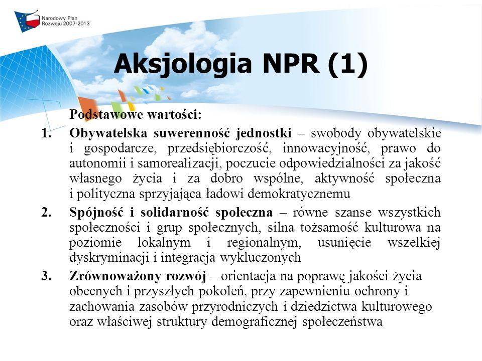Aksjologia NPR (1) Podstawowe wartości: