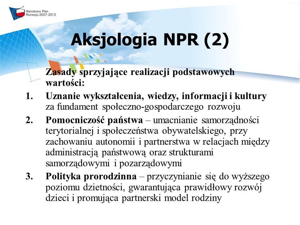 Aksjologia NPR (2) Zasady sprzyjające realizacji podstawowych wartości: