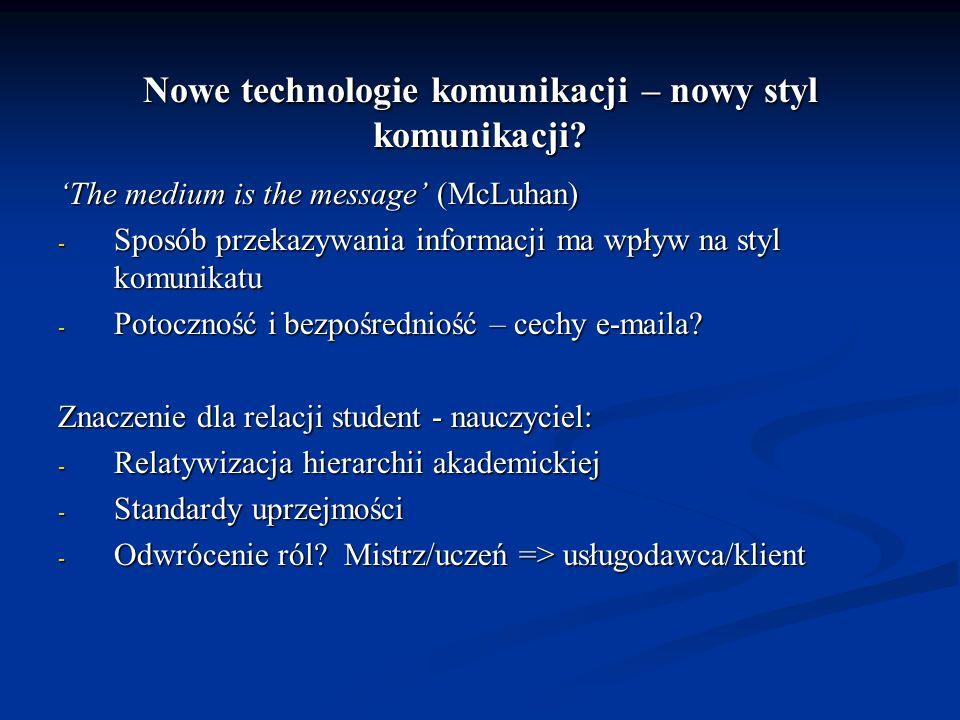 Nowe technologie komunikacji – nowy styl komunikacji