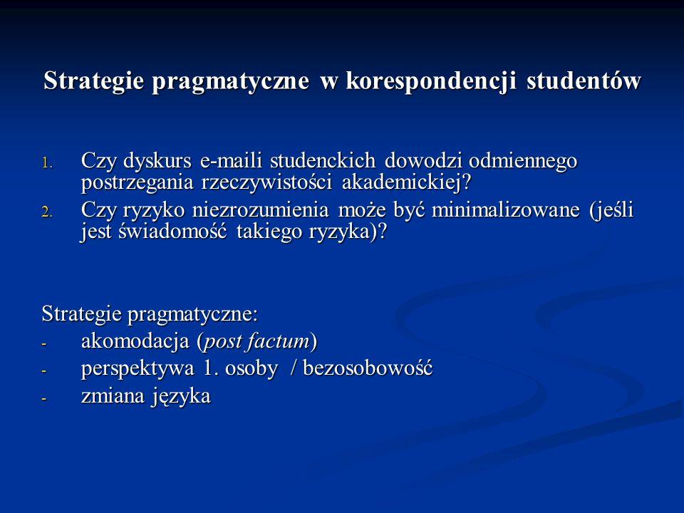 Strategie pragmatyczne w korespondencji studentów