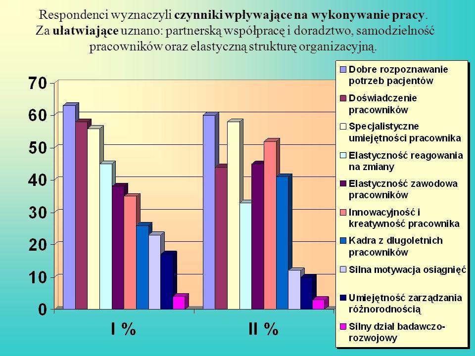 Respondenci wyznaczyli czynniki wpływające na wykonywanie pracy