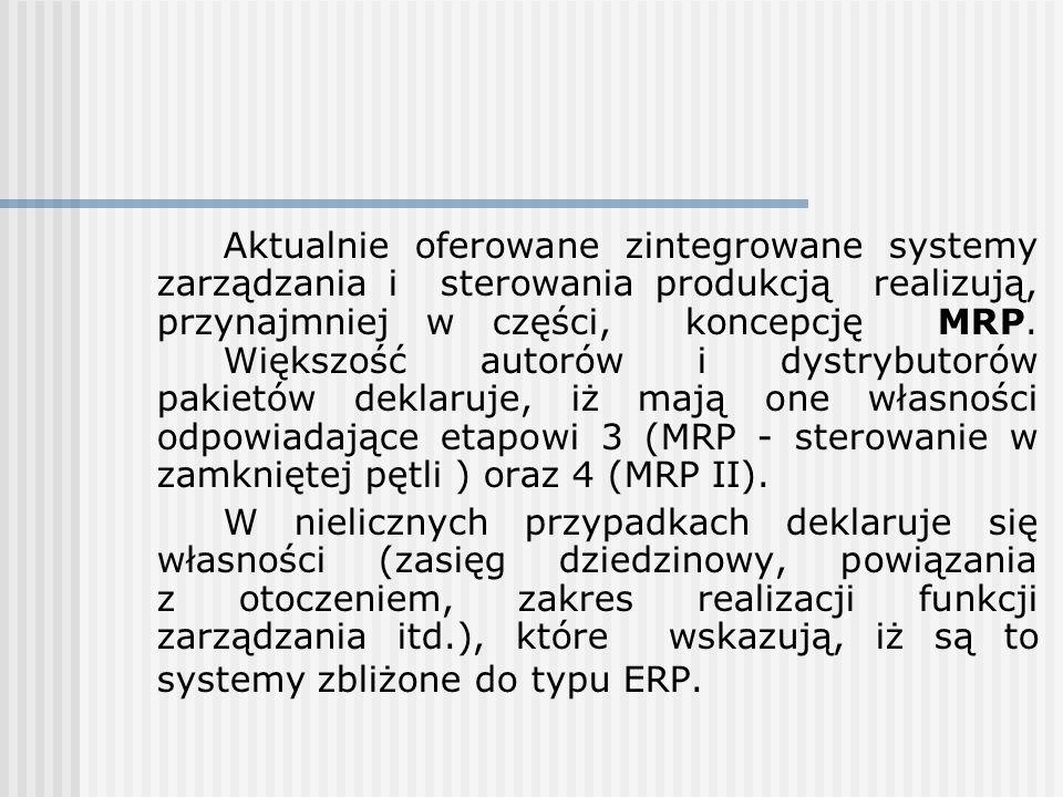 Aktualnie oferowane zintegrowane systemy zarządzania i sterowania produkcją realizują, przynajmniej w części, koncepcję MRP. Większość autorów i dystrybutorów pakietów deklaruje, iż mają one własności odpowiadające etapowi 3 (MRP - sterowanie w zamkniętej pętli ) oraz 4 (MRP II).