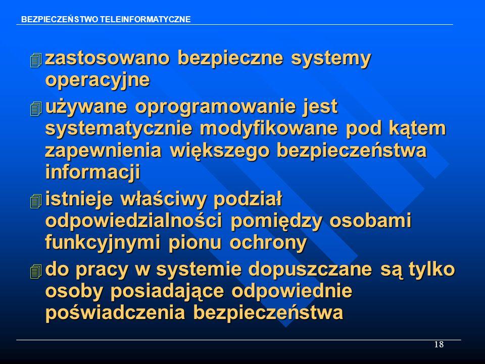 zastosowano bezpieczne systemy operacyjne