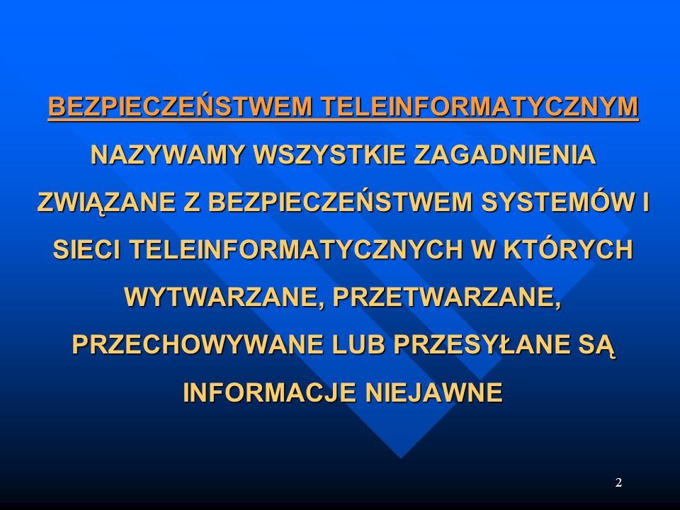 BEZPIECZEŃSTWEM TELEINFORMATYCZNYM NAZYWAMY WSZYSTKIE ZAGADNIENIA ZWIĄZANE Z BEZPIECZEŃSTWEM SYSTEMÓW I SIECI TELEINFORMATYCZNYCH W KTÓRYCH WYTWARZANE, PRZETWARZANE, PRZECHOWYWANE LUB PRZESYŁANE SĄ INFORMACJE NIEJAWNE