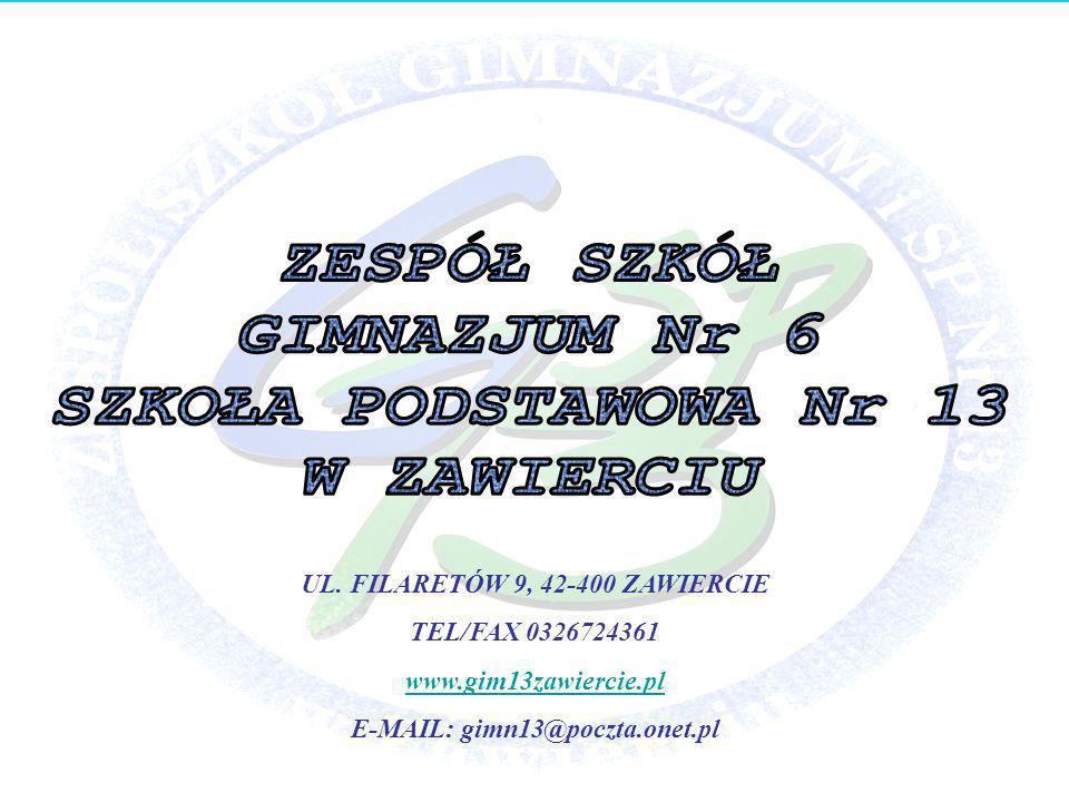 UL. FILARETÓW 9, 42-400 ZAWIERCIE E-MAIL: gimn13@poczta.onet.pl