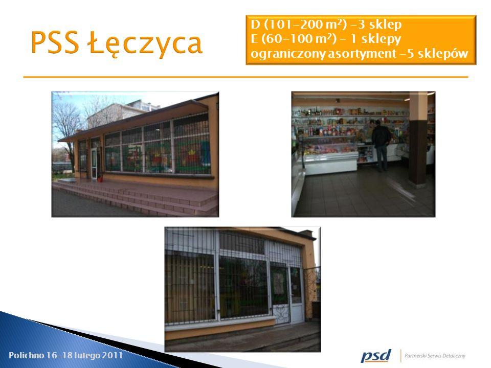 PSS Łęczyca D (101-200 m2) -3 sklep E (60-100 m2) – 1 sklepy