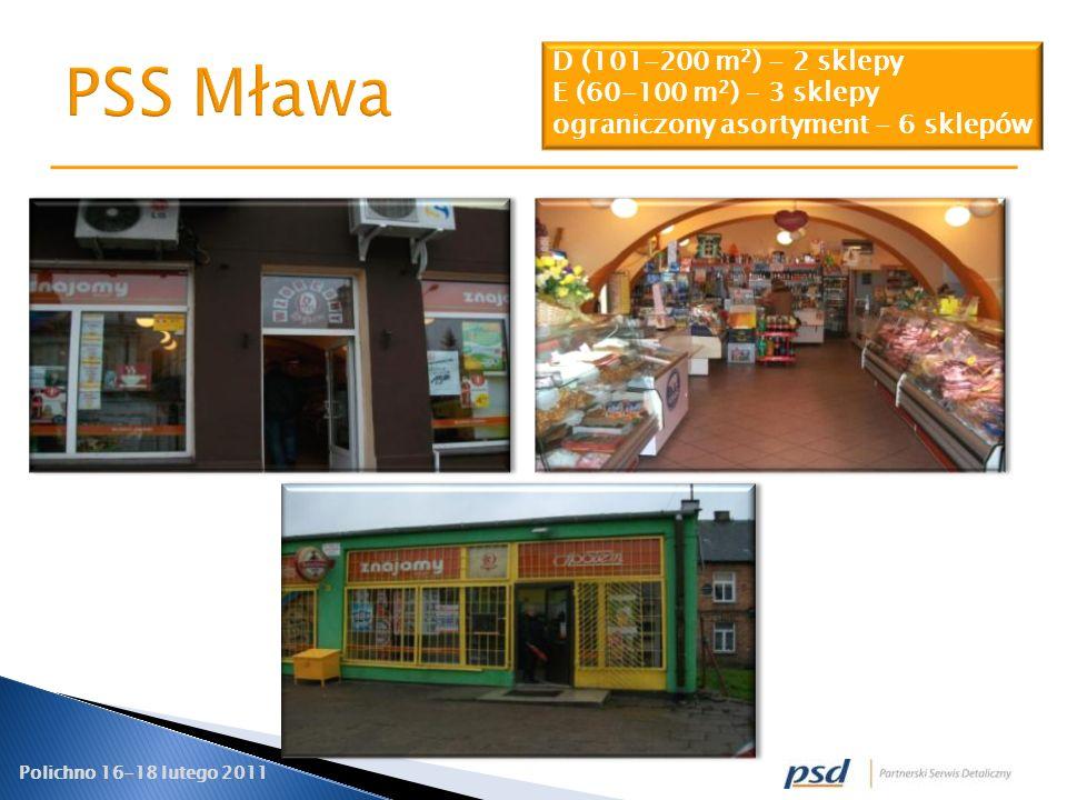 PSS Mława D (101-200 m2) - 2 sklepy E (60-100 m2) – 3 sklepy