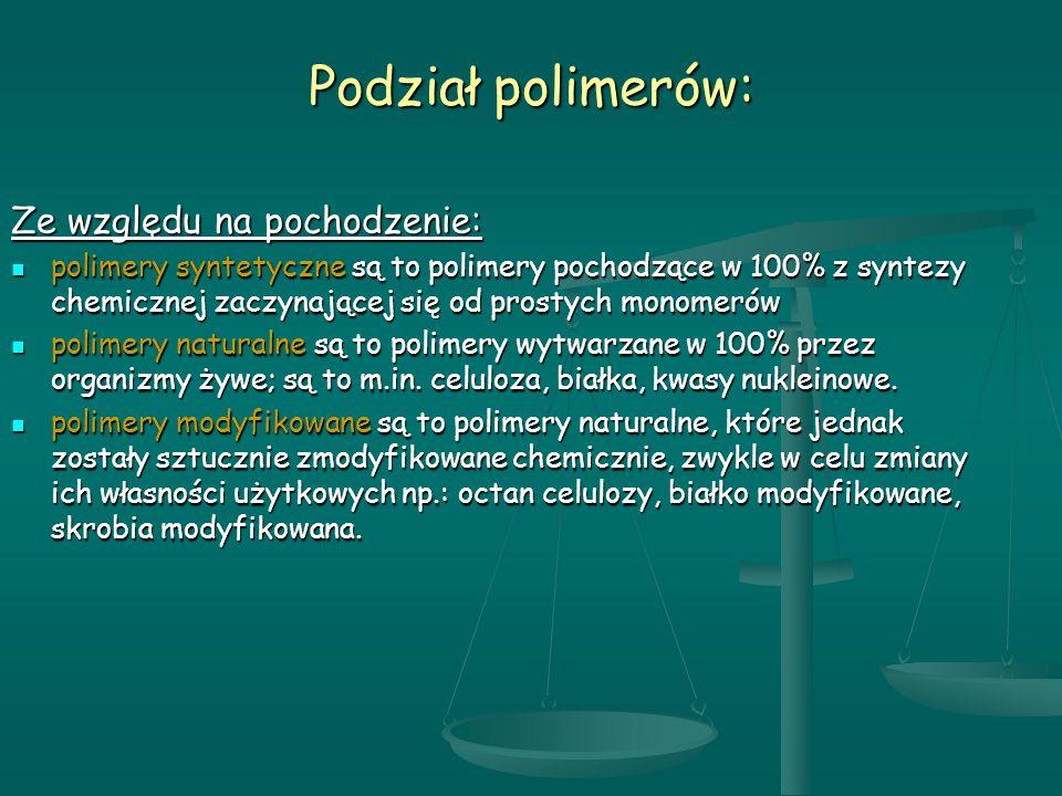 Podział polimerów: Ze względu na pochodzenie: