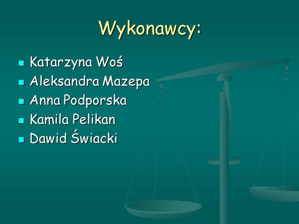 Wykonawcy: Katarzyna Woś Aleksandra Mazepa Anna Podporska