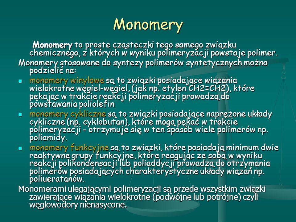 Monomery Monomery to proste cząsteczki tego samego związku chemicznego, z których w wyniku polimeryzacji powstaje polimer.