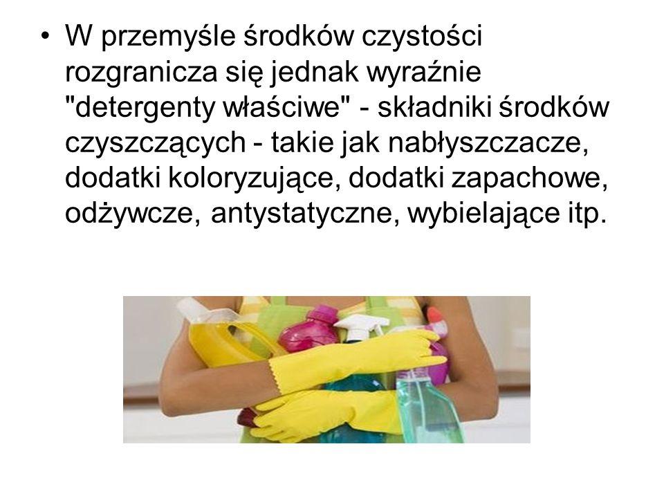 W przemyśle środków czystości rozgranicza się jednak wyraźnie detergenty właściwe - składniki środków czyszczących - takie jak nabłyszczacze, dodatki koloryzujące, dodatki zapachowe, odżywcze, antystatyczne, wybielające itp.