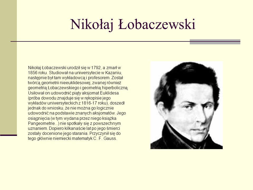 Nikołaj Łobaczewski Nikołaj Łobaczewski urodził się w 1792, a zmarł w