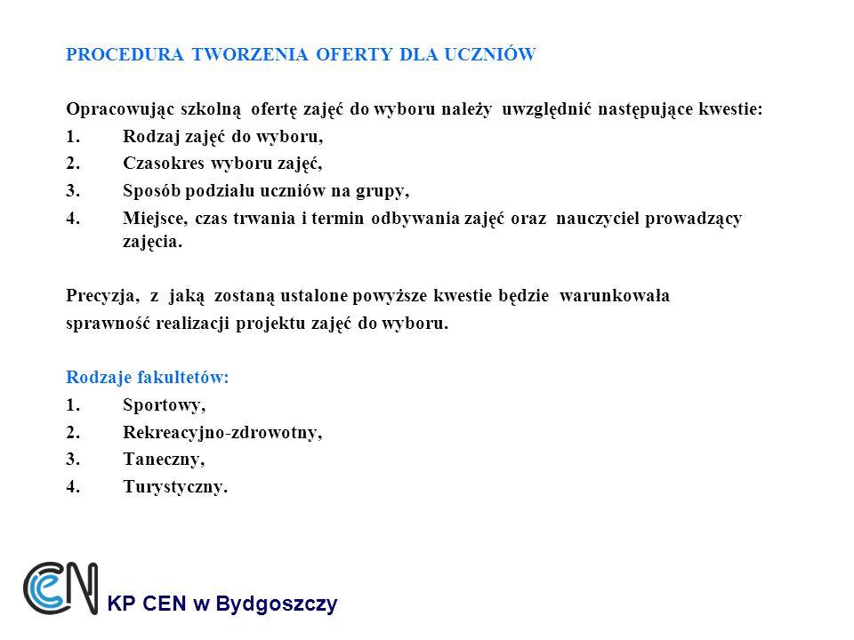 KP CEN w Bydgoszczy PROCEDURA TWORZENIA OFERTY DLA UCZNIÓW