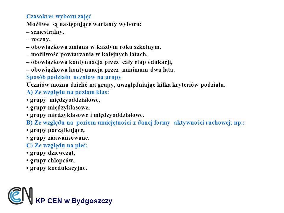 KP CEN w Bydgoszczy Czasokres wyboru zajęć