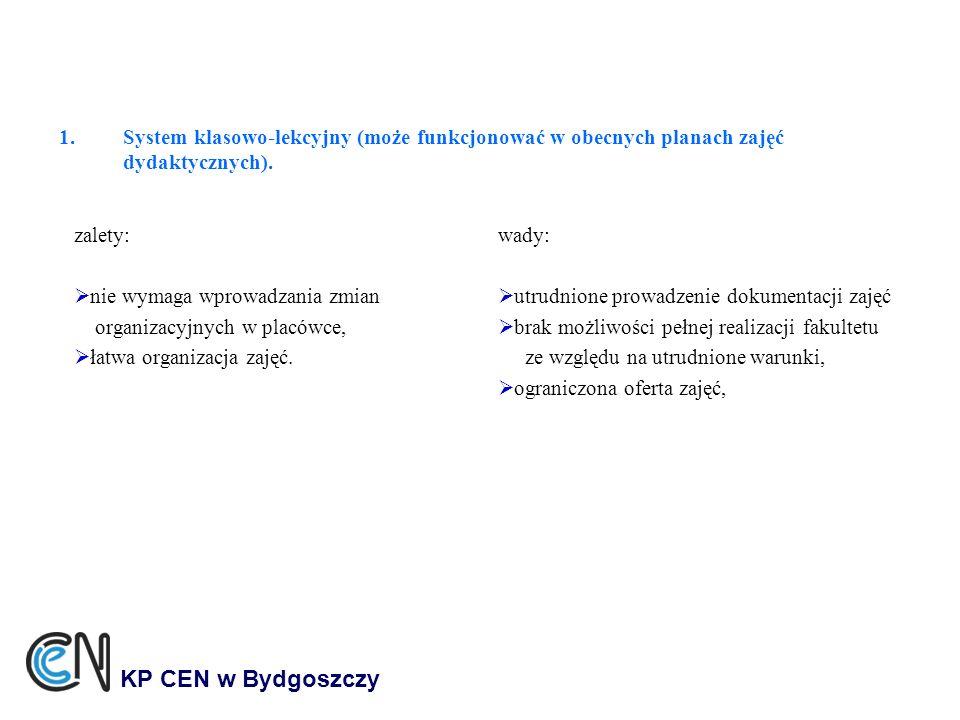 System klasowo-lekcyjny (może funkcjonować w obecnych planach zajęć dydaktycznych).