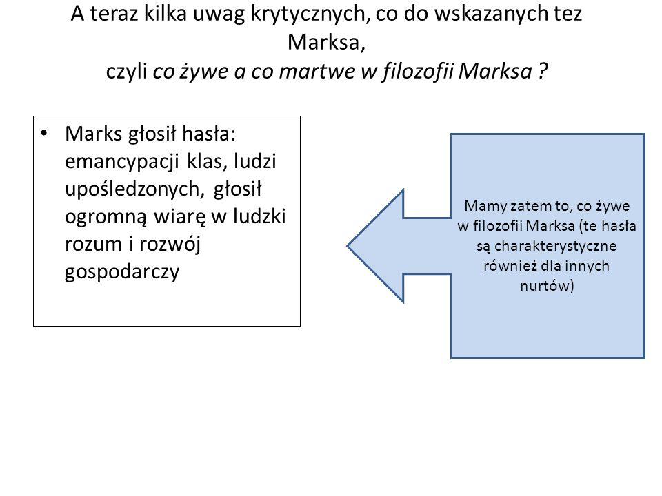 A teraz kilka uwag krytycznych, co do wskazanych tez Marksa, czyli co żywe a co martwe w filozofii Marksa