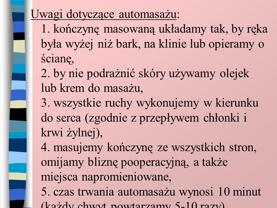 Uwagi dotyczące automasażu: 1