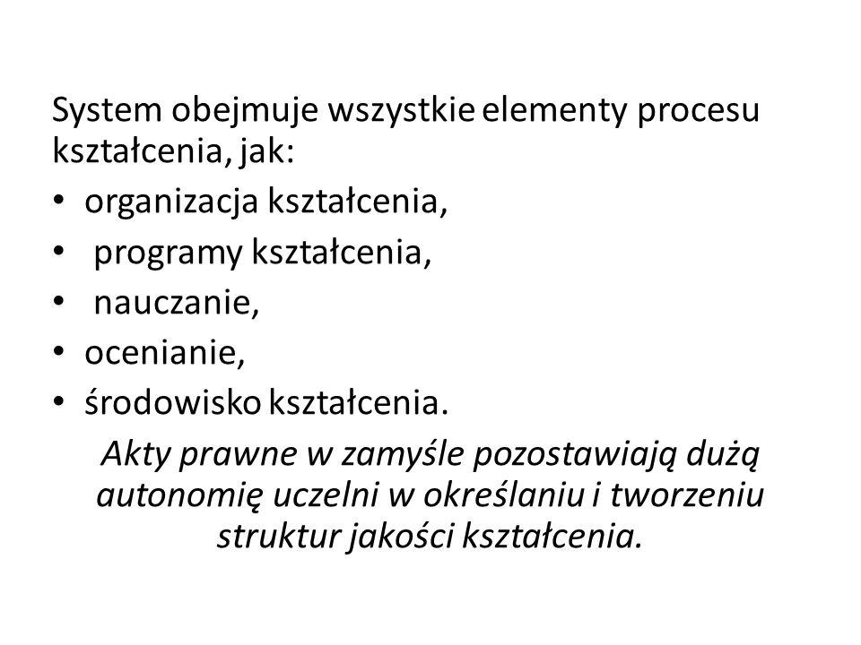 System obejmuje wszystkie elementy procesu kształcenia, jak: