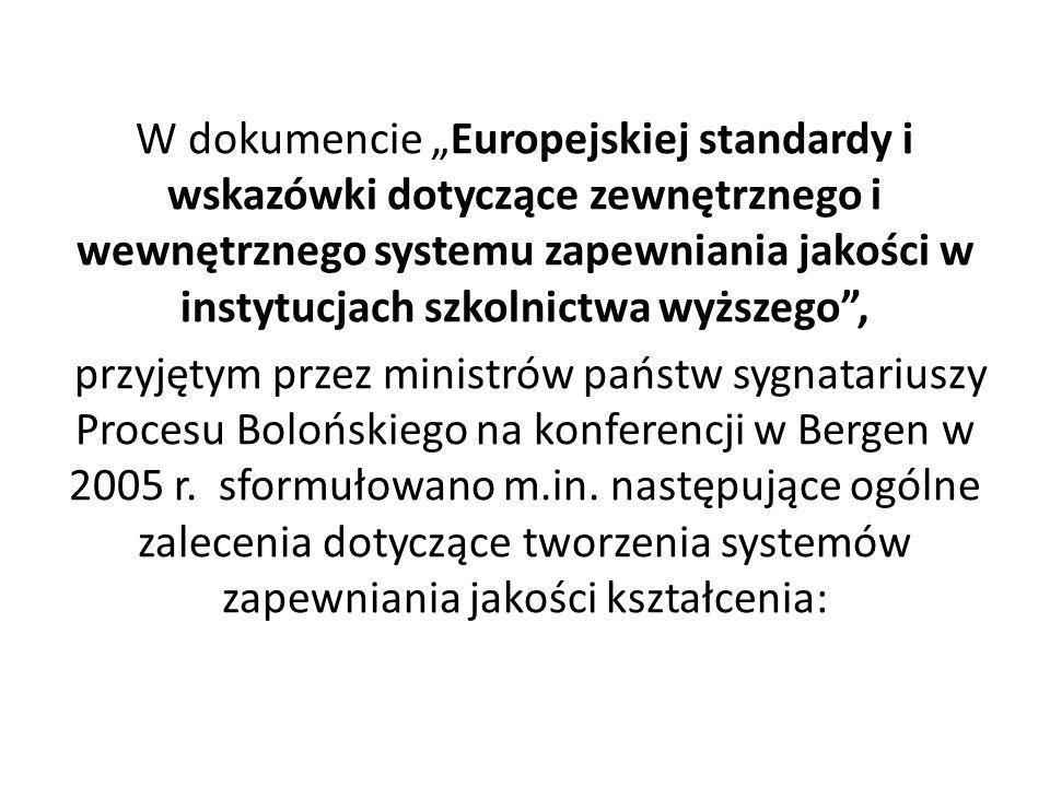 """W dokumencie """"Europejskiej standardy i wskazówki dotyczące zewnętrznego i wewnętrznego systemu zapewniania jakości w instytucjach szkolnictwa wyższego ,"""