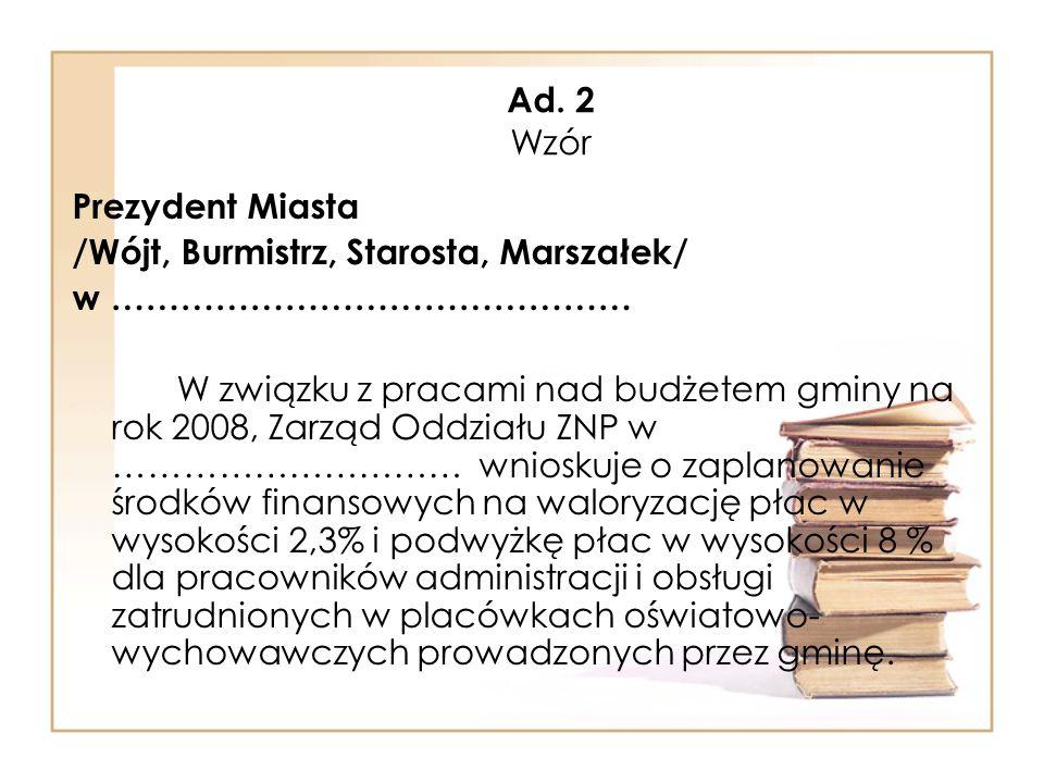 Ad. 2 Wzór Prezydent Miasta. /Wójt, Burmistrz, Starosta, Marszałek/ w ………………………………………