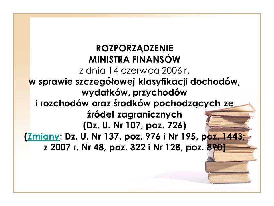 ROZPORZĄDZENIE MINISTRA FINANSÓW z dnia 14 czerwca 2006 r