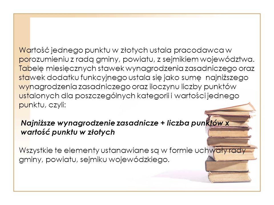 Wartość jednego punktu w złotych ustala pracodawca w porozumieniu z radą gminy, powiatu, z sejmikiem województwa.
