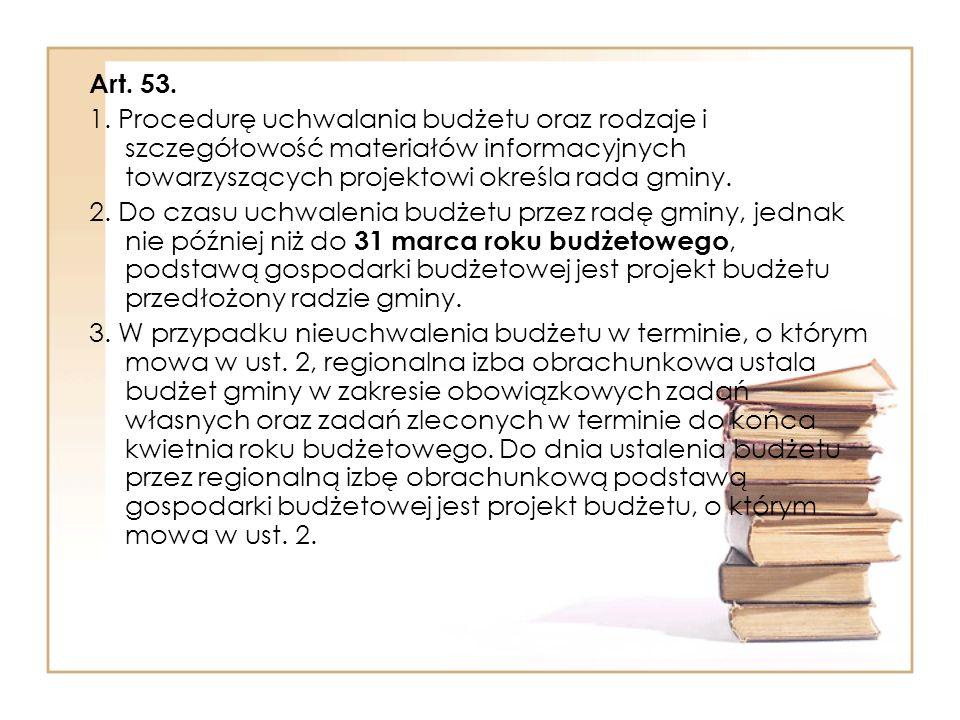 Art. 53. 1. Procedurę uchwalania budżetu oraz rodzaje i szczegółowość materiałów informacyjnych towarzyszących projektowi określa rada gminy.