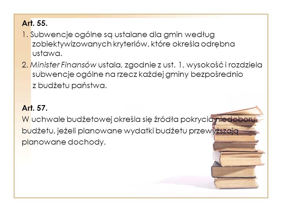 Art. 55. 1. Subwencje ogólne są ustalane dla gmin według zobiektywizowanych kryteriów, które określa odrębna ustawa.