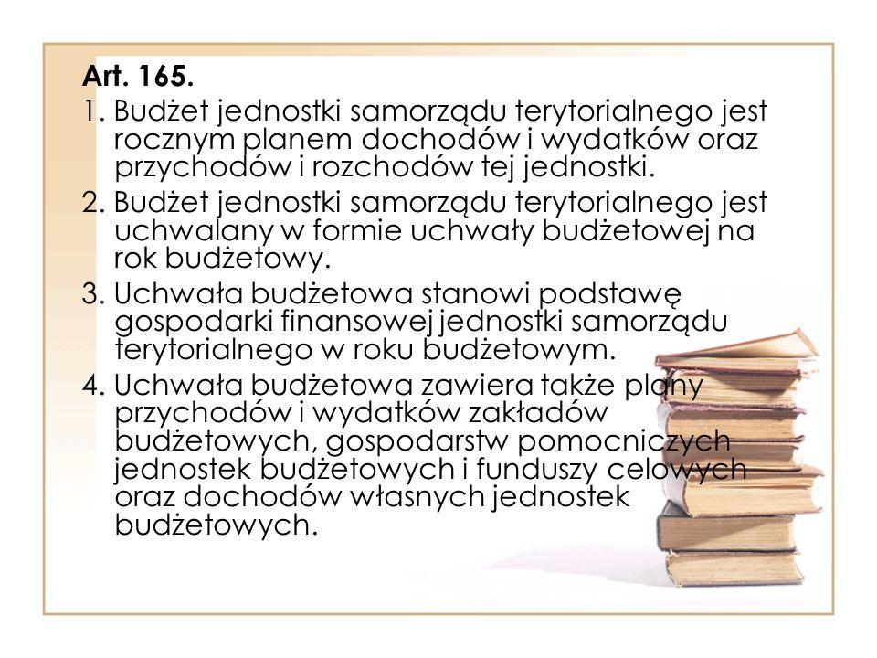 Art. 165. 1. Budżet jednostki samorządu terytorialnego jest rocznym planem dochodów i wydatków oraz przychodów i rozchodów tej jednostki.
