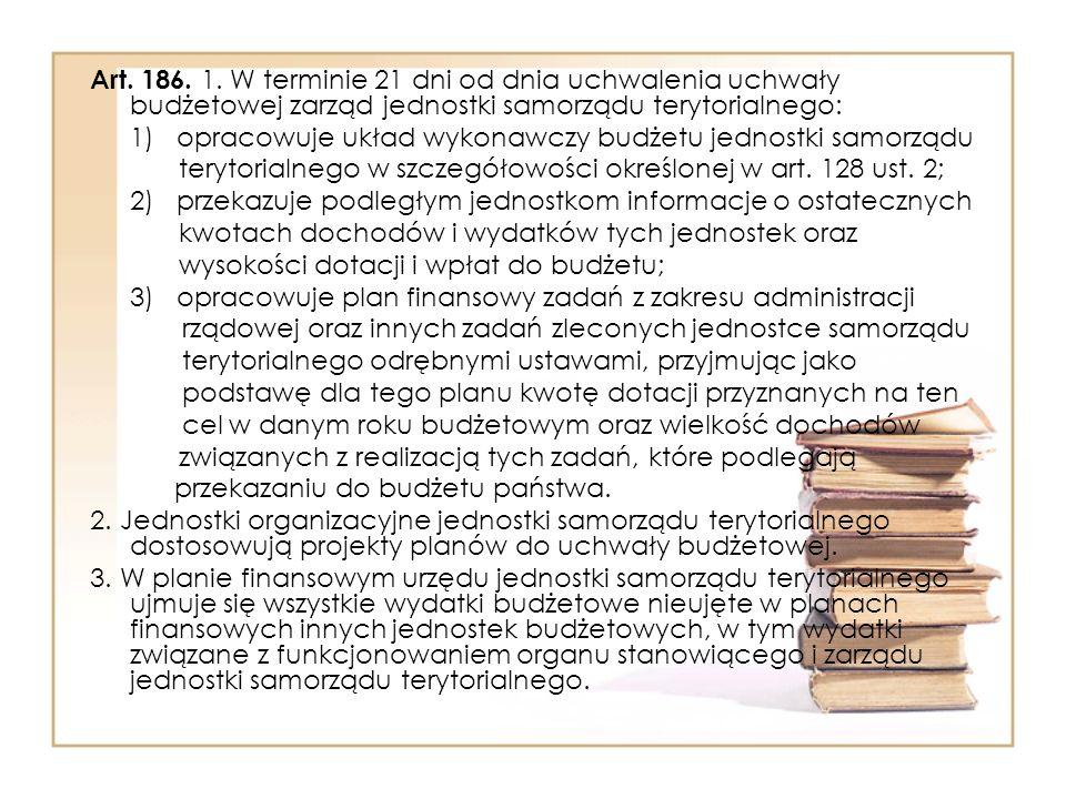 Art. 186. 1. W terminie 21 dni od dnia uchwalenia uchwały budżetowej zarząd jednostki samorządu terytorialnego: