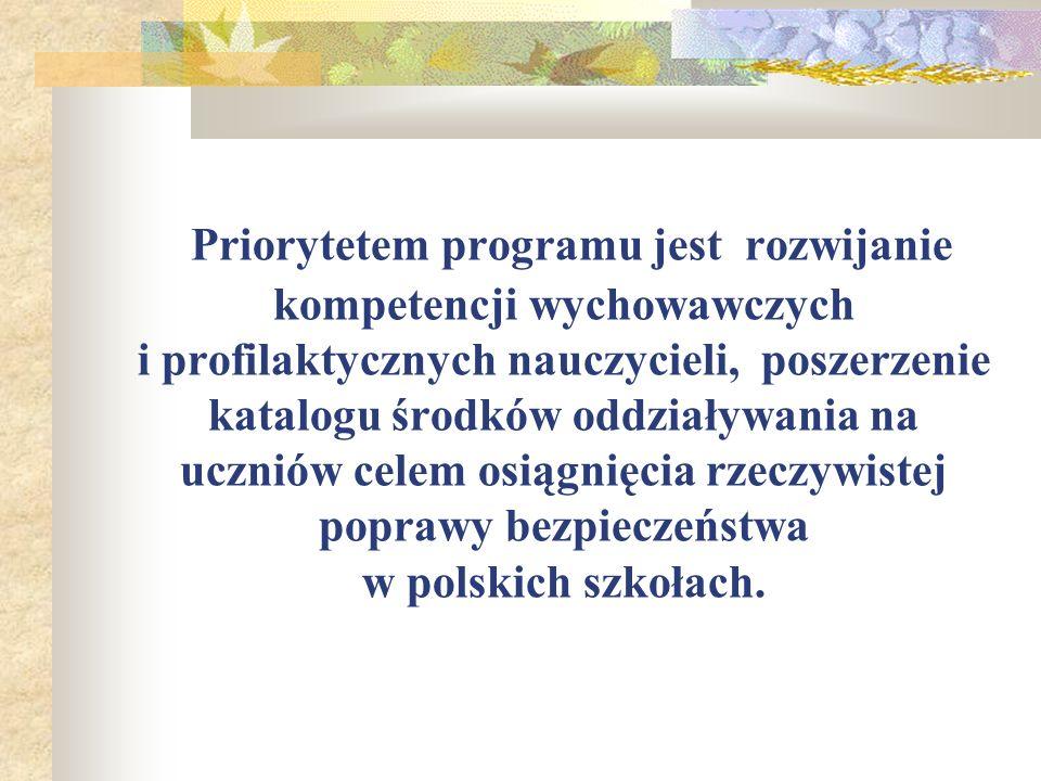 Priorytetem programu jest rozwijanie kompetencji wychowawczych i profilaktycznych nauczycieli, poszerzenie katalogu środków oddziaływania na uczniów celem osiągnięcia rzeczywistej poprawy bezpieczeństwa w polskich szkołach.
