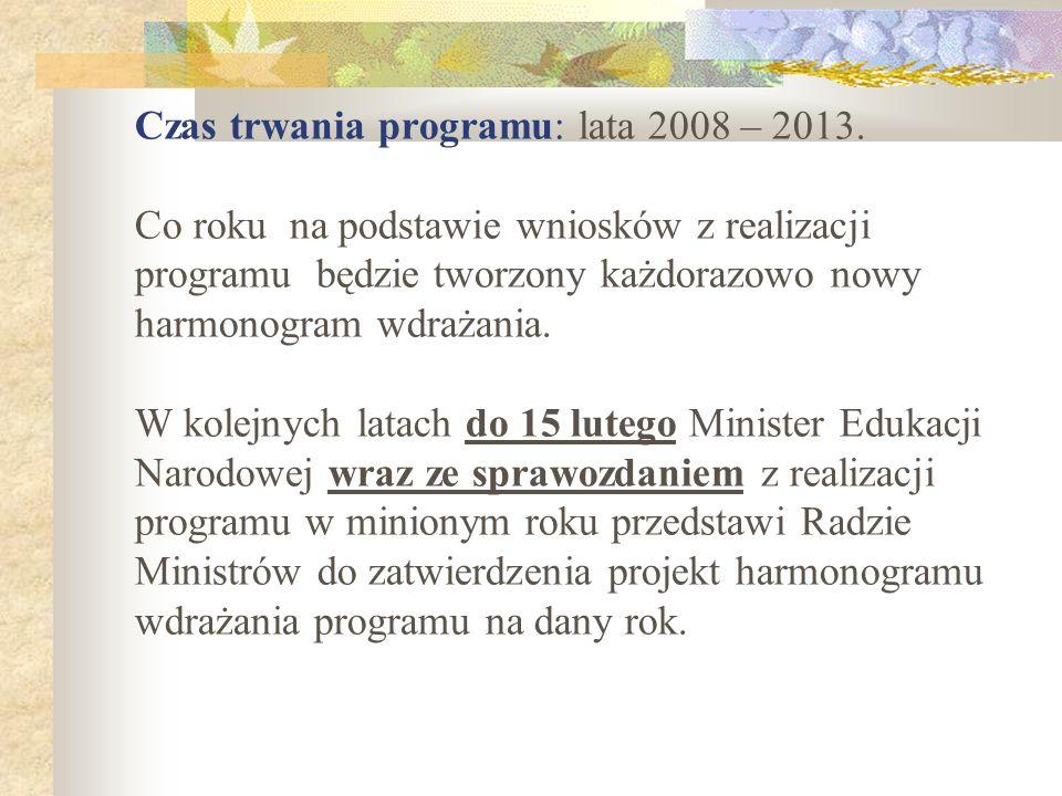 Czas trwania programu: lata 2008 – 2013