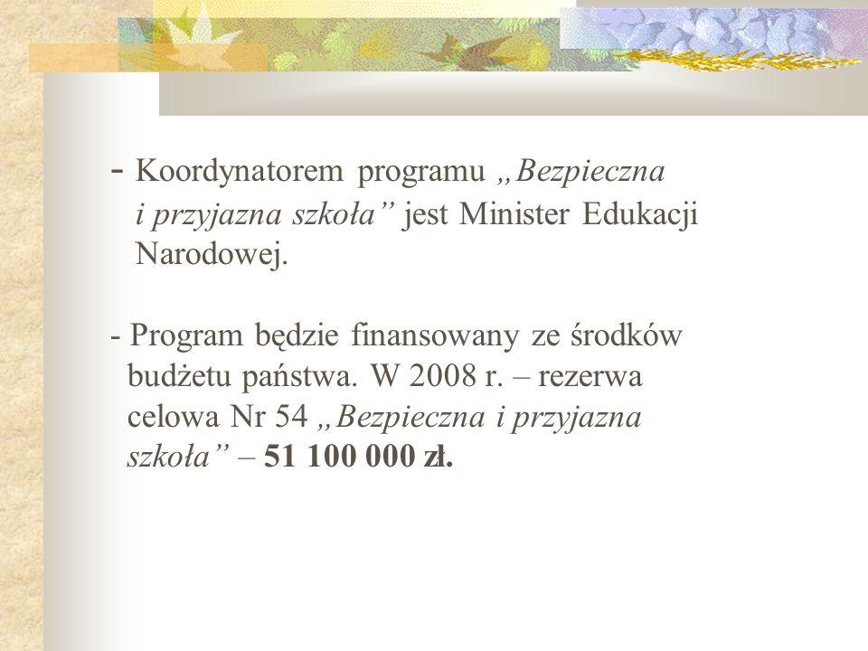 """Koordynatorem programu """"Bezpieczna i przyjazna szkoła jest Minister Edukacji Narodowej."""